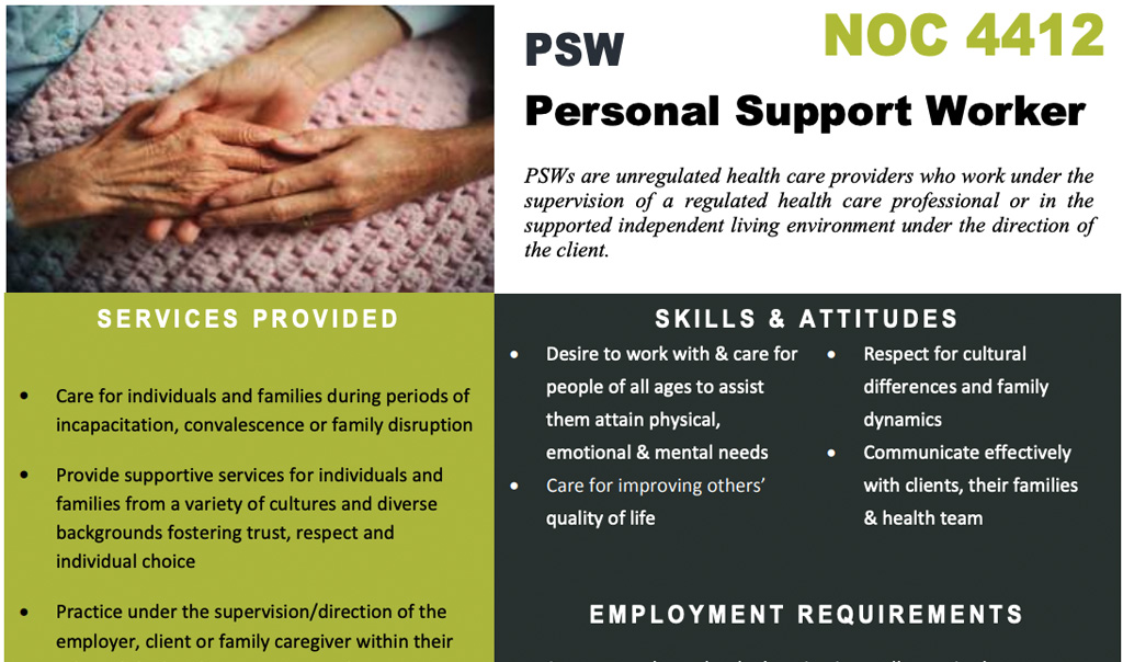 PSW Personal Support Worker NOC 4412