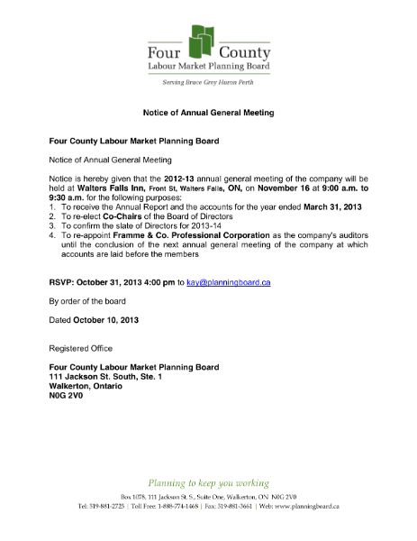 notice annual general meeting 2013